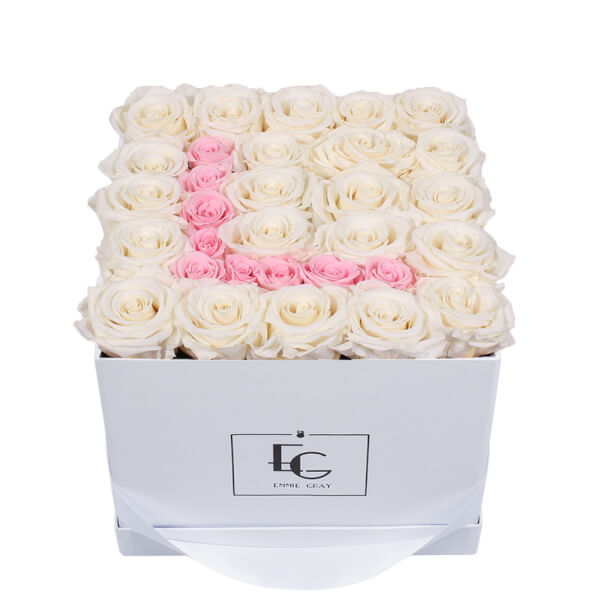 LETTER INFINITY ROSEBOX | PURE WHITE & BRIDAL PINK | M