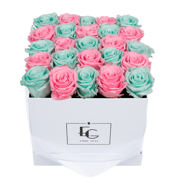 MIX INFINITY ROSEBOX | MINTY GREEN & BRIDAL PINK | M