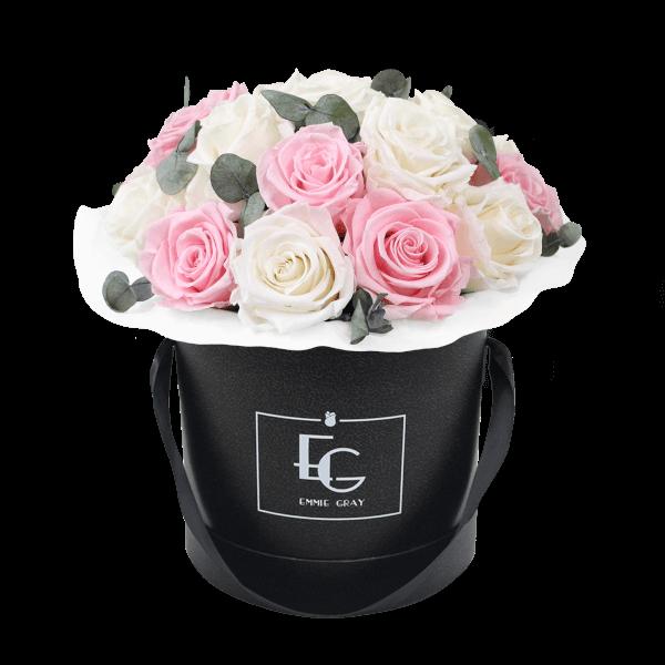 Splendid Eucalyptus Infinity Rosebox | Pure White & Bridal Pink | M