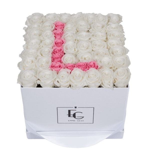 LETTER INFINITY ROSEBOX | PURE WHITE & BRIDAL PINK | L