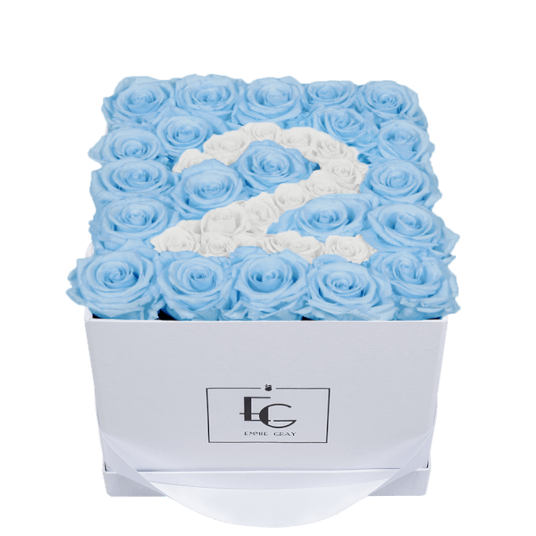 NUMBER INFINITY ROSEBOX | BABY BLUE & PURE WHITE | M