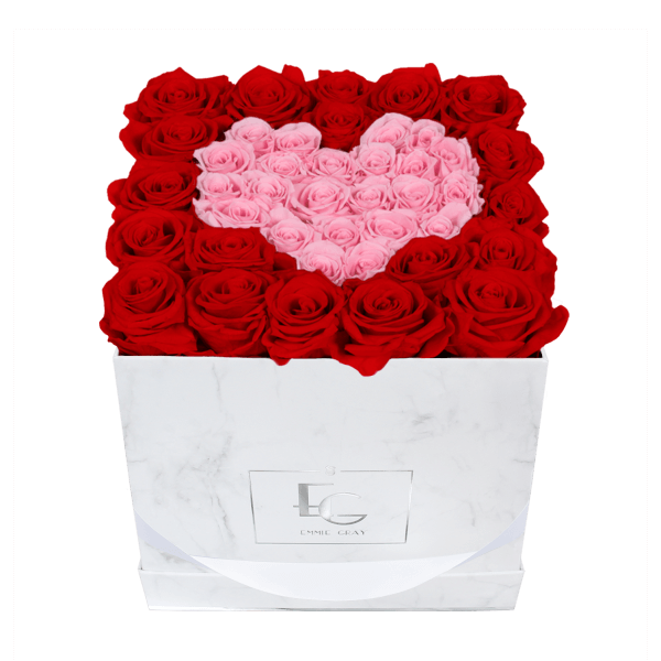 HEART SYMBOL INFINITY ROSEBOX | VIBRANT RED & BRIDAL PINK | M