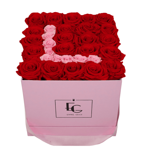 LETTER INFINITY ROSEBOX | VIBRANT RED & BRIDAL PINK | M