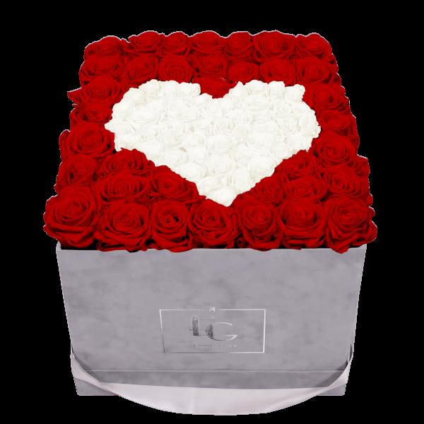 HEART SYMBOL INFINITY ROSEBOX   VIBRANT RED & PURE WHITE   L
