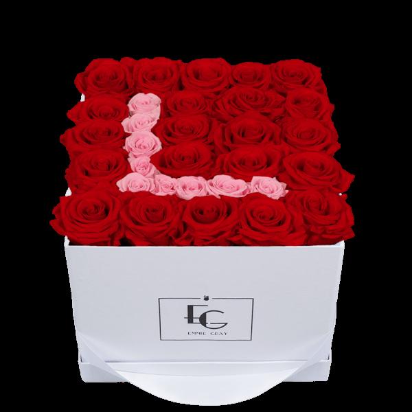 LETTER INFINITY ROSEBOX | VIBRANT RED & BRIDAL PINK | M