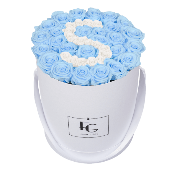 LETTER INFINITY ROSEBOX | BABY BLUE & PURE WHITE | L
