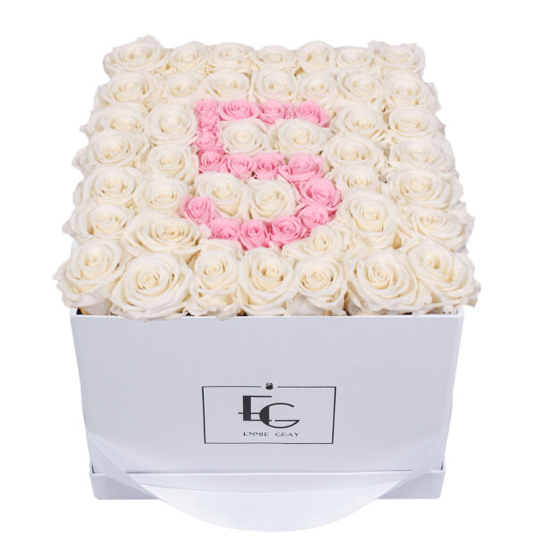 NUMBER INFINITY ROSEBOX | PURE WHITE & BRIDAL PINK | L