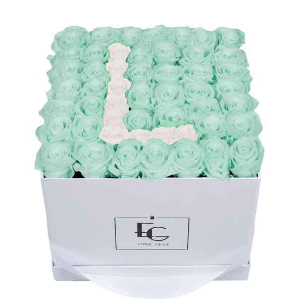 LETTER INFINITY ROSEBOX | MINTY GREEN & PURE WHITE | L