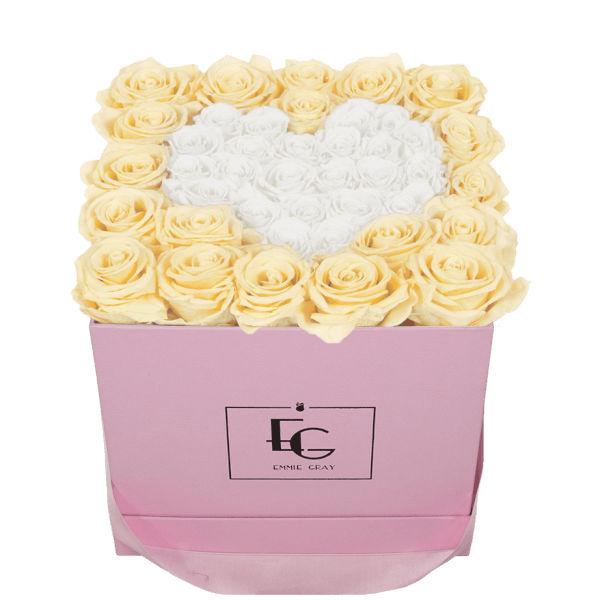 HEART SYMBOL INFINITY ROSEBOX | CHAMPAGNE & PURE WHITE | M