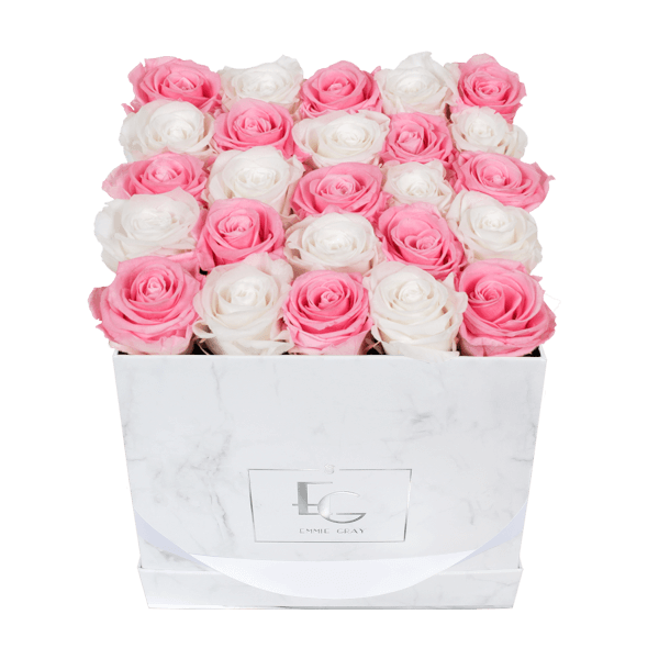 MIX INFINITY ROSEBOX | BRIDAL PINK & PURE WHITE | M