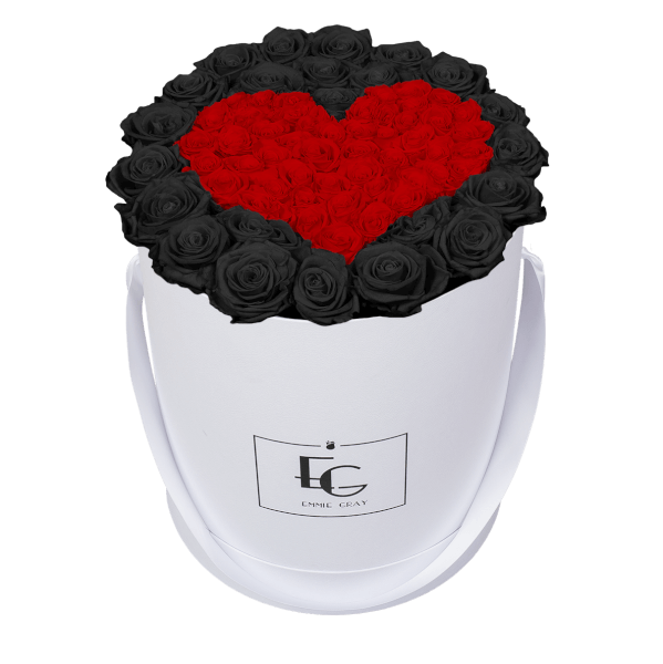 HEART SYMBOL INFINITY ROSEBOX | BLACK BEAUTY & VIBRANT RED | L