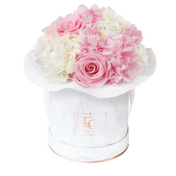 Splendid Hydrangea Mix Infinity Rosebox | Bridal Pink & Pure White | S