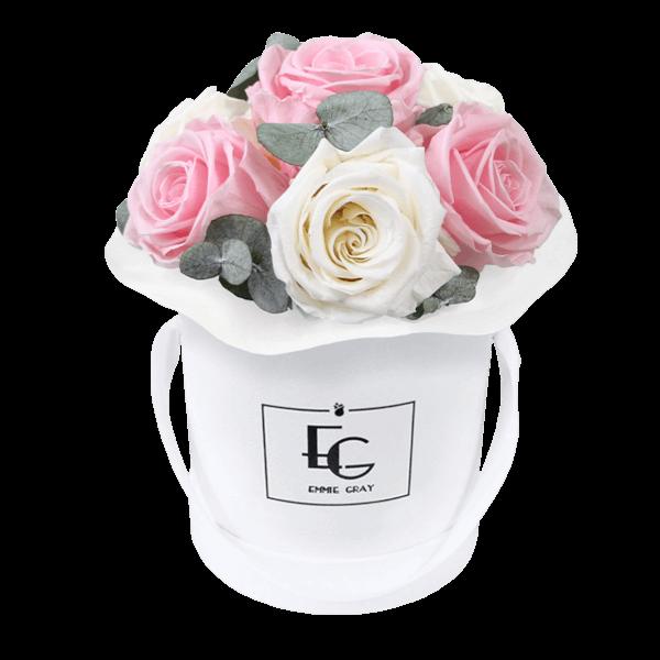 Splendid Eucalyptus Infinity Rosebox | Pure White & Bridal Pink | XS