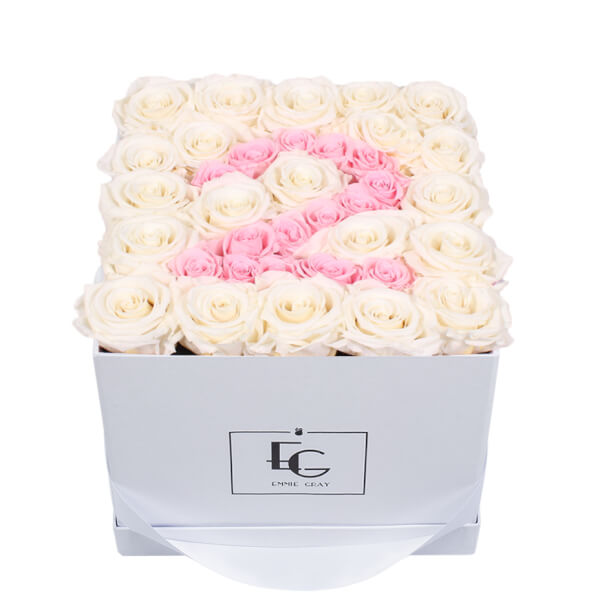 NUMBER INFINITY ROSEBOX | PURE WHITE & BRIDAL PINK | M