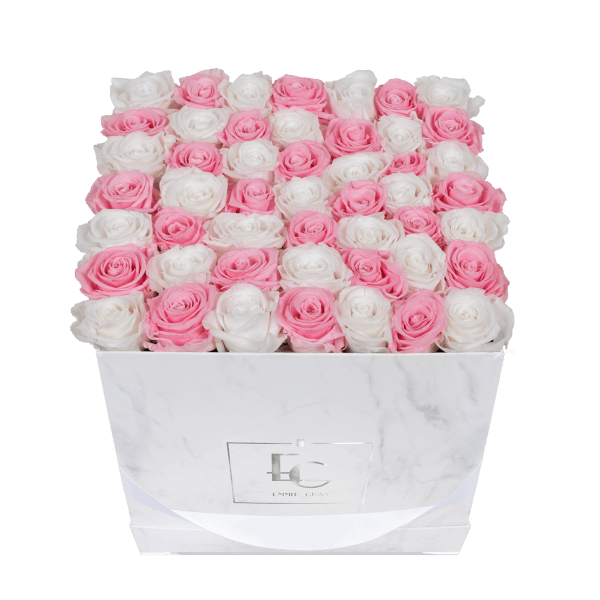 Mix Infinity Rosebox | Bridal Pink & Pure White | L