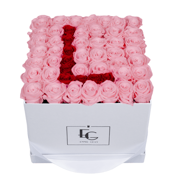 LETTER INFINITY ROSEBOX | BRIDAL PINK & VIBRANT RED | L