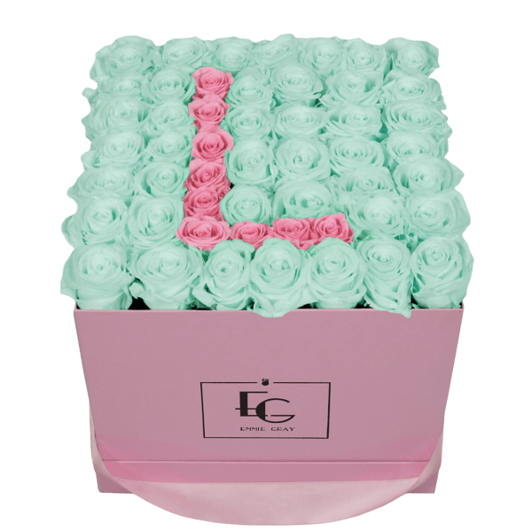 LETTER INFINITY ROSEBOX | MINTY GREEN & BRIDAL PINK | L