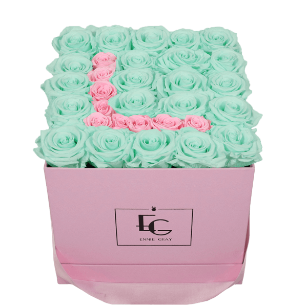 LETTER INFINITY ROSEBOX | MINTY GREEN & BRIDAL PINK | M