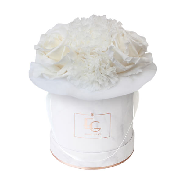 Splendid Carnation Infinity Rosebox | Pure White | XS