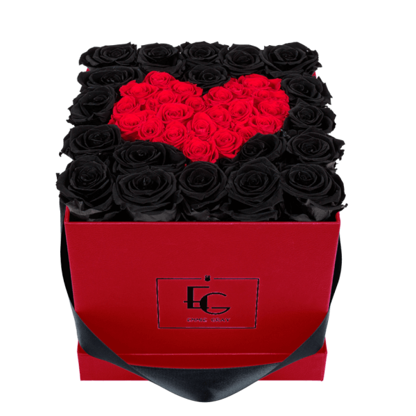 HEART SYMBOL INFINITY ROSEBOX | BLACK BEAUTY & VIBRANT RED | M