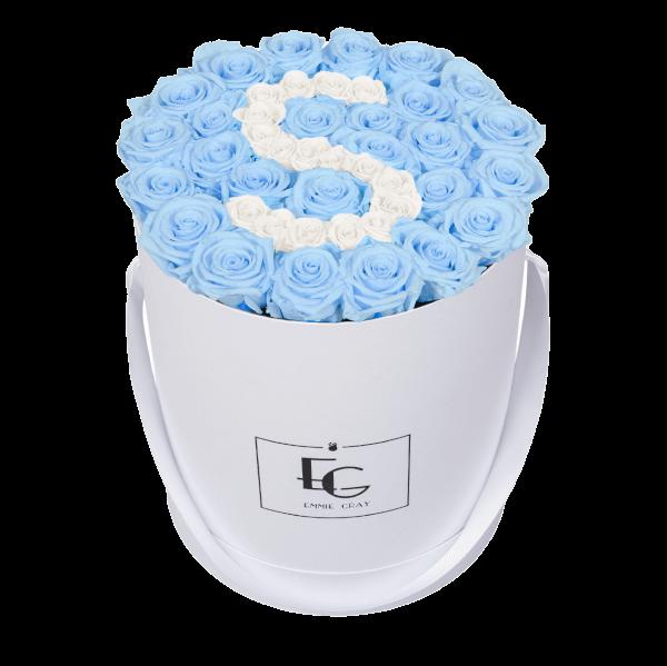LETTER INFINITY ROSEBOX | BABY BLUE & PURE WHITE | L