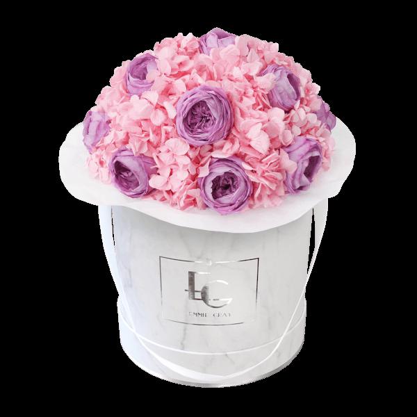 Splendid Peony Mix Infinity Rosebox | Baby Lilli & Bridal Pink | M