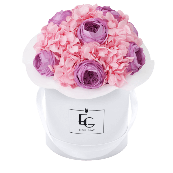 Splendid Peony Mix Infinity Rosebox   Baby Lilli & Bridal Pink   S