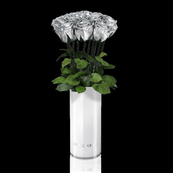 Classic Vase Set   Silver   10 ROSES