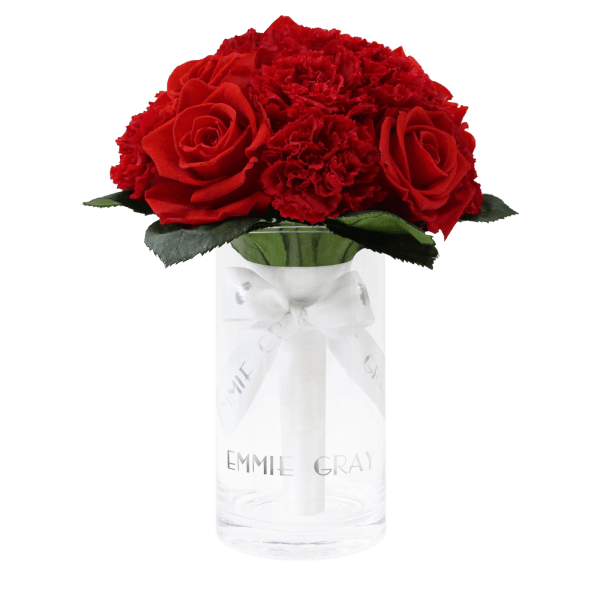 Romantic Carnation Infinity Bouquet | Vibrant Red | S