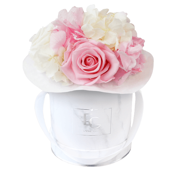 Splendid Hydrangea Mix Infinity Rosebox | Bridal Pink & Pure White | XS