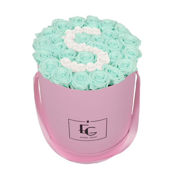 LETTER INFINITY ROSEBOX   MINTY GREEN & PURE WHITE   L