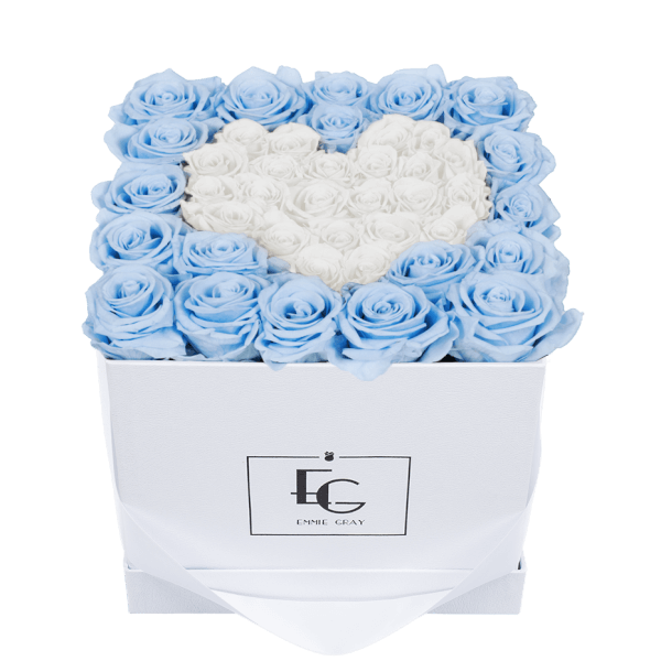 HEART SYMBOL INFINITY ROSEBOX | BABY BLUE & PURE WHITE | M