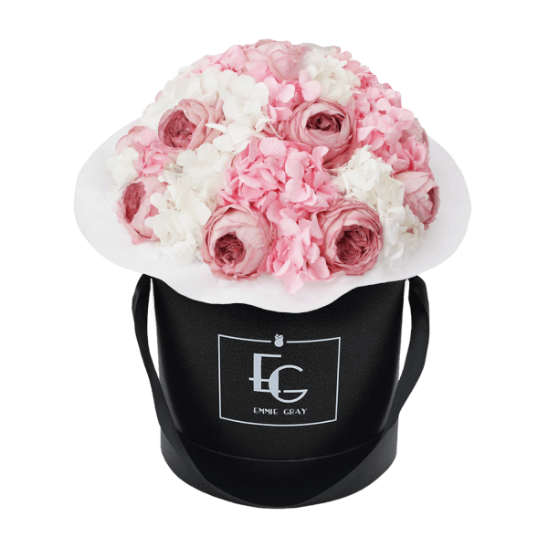 Splendid Peony Mix Infinity Rosebox | Bridal Pink & Pure White | M