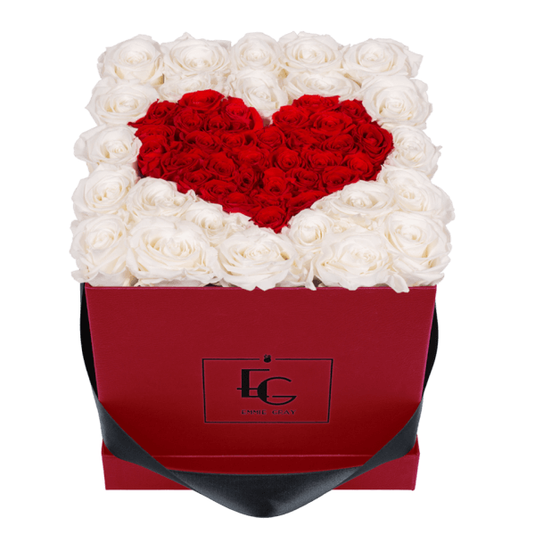 HEART SYMBOL INFINITY ROSEBOX | PURE WHITE & VIBRANT RED | M