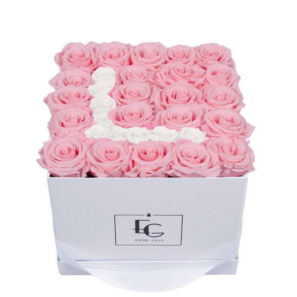LETTER INFINITY ROSEBOX   BRIDAL PINK & PURE WHITE   M