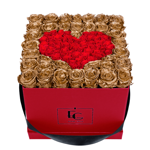 HEART SYMBOL INFINITY ROSEBOX | GOLD & VIBRANT RED | L