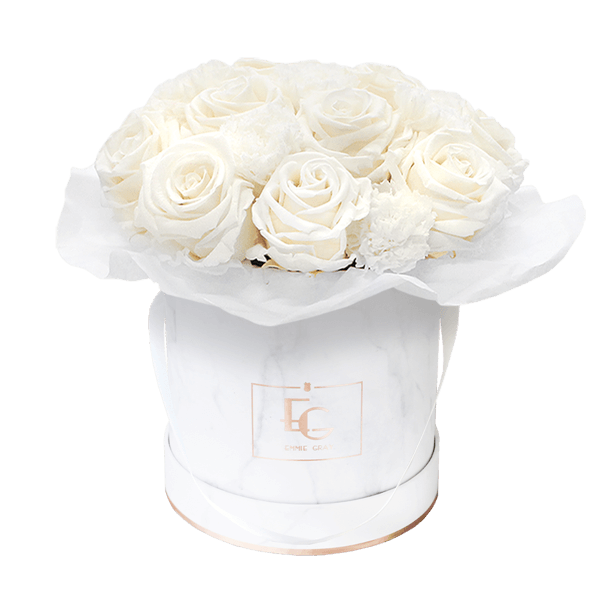 Splendid Carnation Infinity Rosebox | Pure White | S