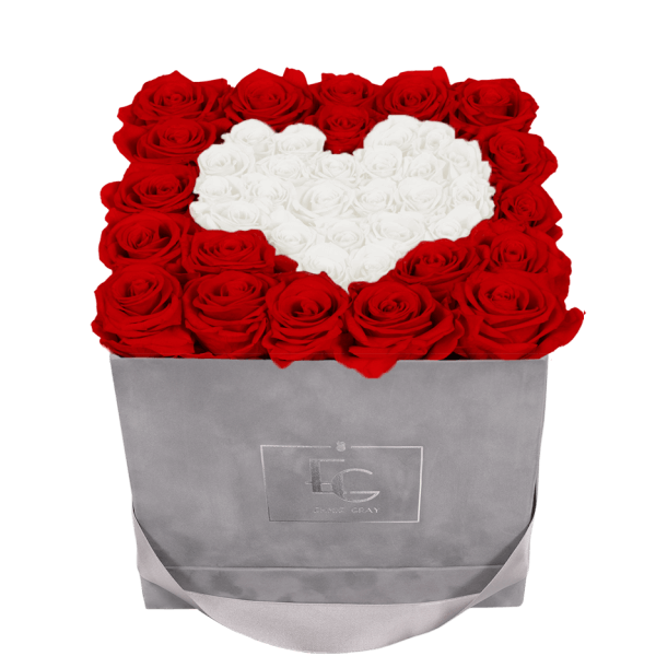 HEART SYMBOL INFINITY ROSEBOX | VIBRANT RED & PURE WHITE | M