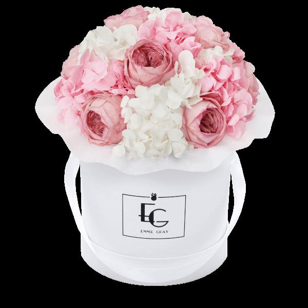 Splendid Peony Mix Infinity Rosebox | Bridal Pink & Pure White | S