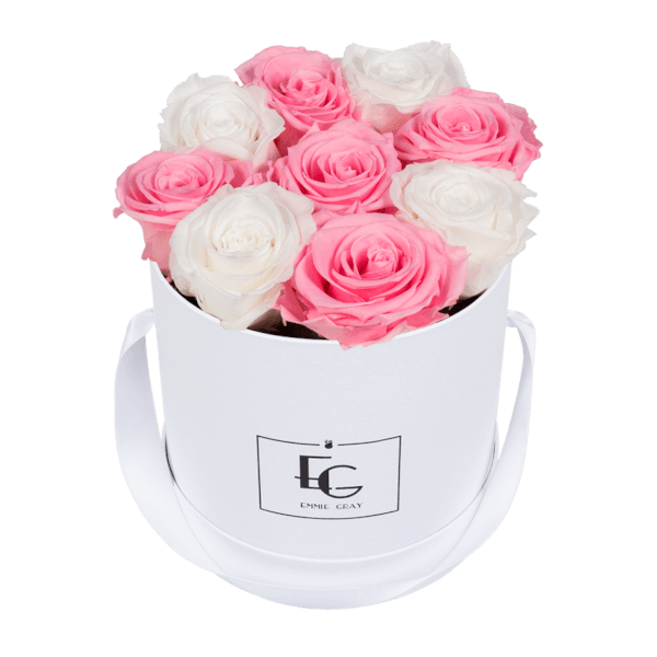 MIX INFINITY ROSEBOX | PURE WHITE & BRIDAL PINK | S