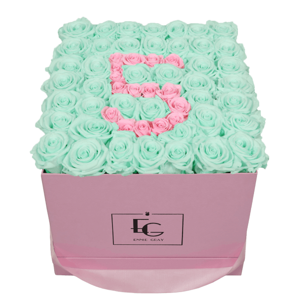 NUMBER INFINITY ROSEBOX | MINTY GREEN & BRIDAL PINK | L